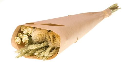 Droogbloemenboeket natural green/white in craft paper natural  Droogbloemenpakket in kraft