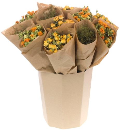 Droogbloemenmix Roses spray/ Bidens/ Lepidium oranje geel groen 3 verschillende in kraft