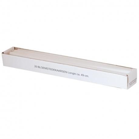 Doos 20 bloemsteekkaarsen 49 cm. XXL Adventkaarsen Wit Dunne lange kaarsen 15mm