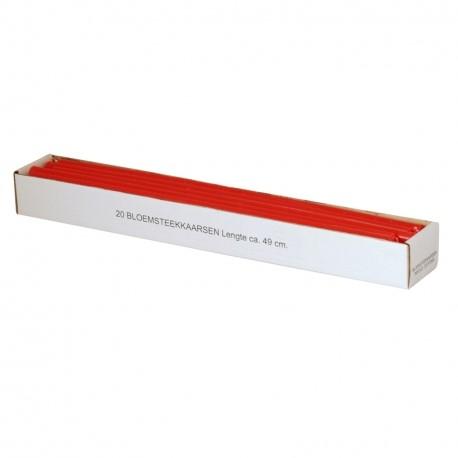 Doos 20 bloemsteekkaarsen 49 cm. XXL Adventkaarsen KerstRood Dunne lange kaarsen 15mm