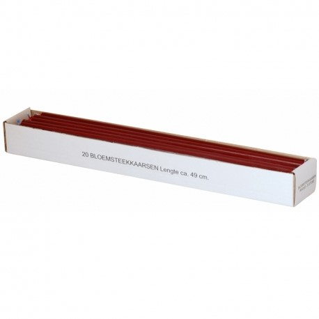 Doos 20 bloemsteekkaarsen 49 cm. XXL Adventkaarsen Donkerrood Dunne lange kaarsen 15mm