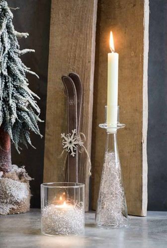 Shine glazen Candle Holder 26cm hoog*7, 5cm. Zeer Origineel!