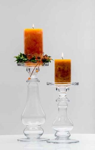 Shine glazen Candle Holder 21cm hoog *11, 5cm breed laagste Zeer Origineel!