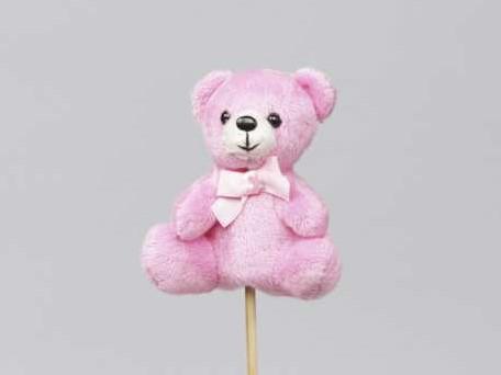 Bijsteker Roze pluche beertjes 9 cm. Pak 8 stuks bijstekers