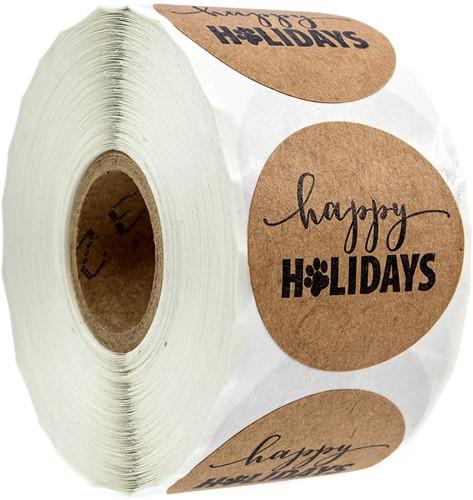 500 Stickers Labels Happy Holidays Sticker POOTJE rol kraft etiketten