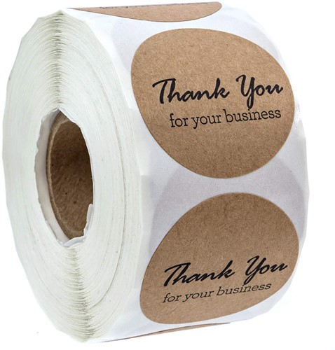 500 Stickers Labels Rol Thank You For Your Business rol kraft etiketten