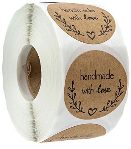 500 Stickers Labels Rol Handmade with love Olijftakje rol kraft etiketten