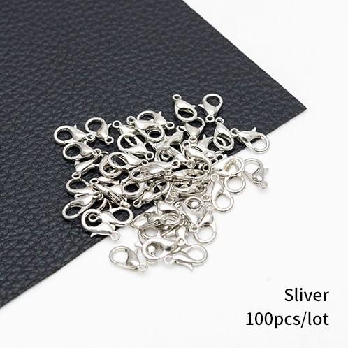 Sluitingen voor sieraden,zilverkleur,Sluiting sieraden /pakje 100 Nikkelvrij Sieraden maken