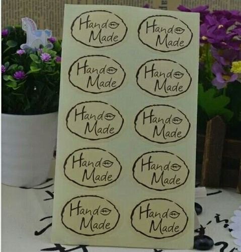 100 Stickers Labels Handmade Ovaal Kiss 100 Stickers Labels