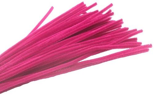 Chenille Pijpenragers dia 5-6mm, 30 cm. C1 Rose red PAK50 Chenille Pijpenragers