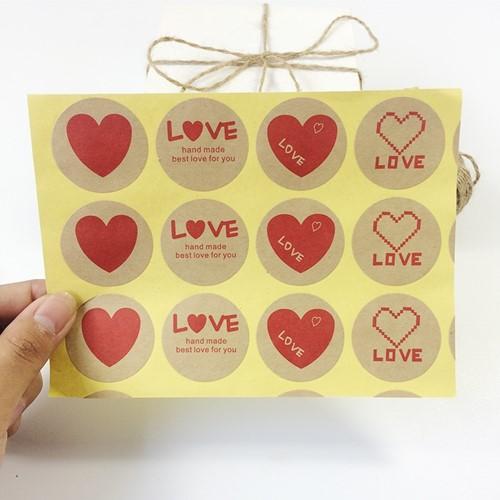Actie 10 Stickers Labels Kraft Lover rood hart Etiket Sluitsticker