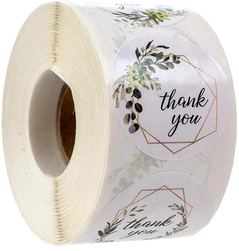 500 Stickers Labels Rol Thank you 4 designs Greenery rol sluit etiketten