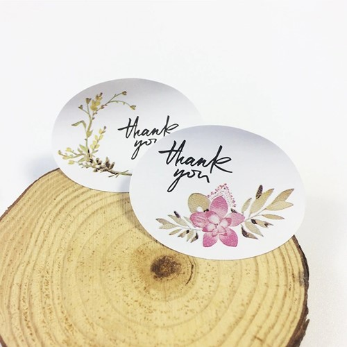 Actie 12 Stickers Labels Thank you Vintage Flowers ovaal Thank you sluitsticker