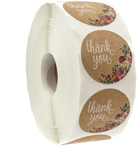 Kraft Floral Thank You Stickers - 1 inch ronde Labels +/- 500 Per rol Thank you sluitsticker