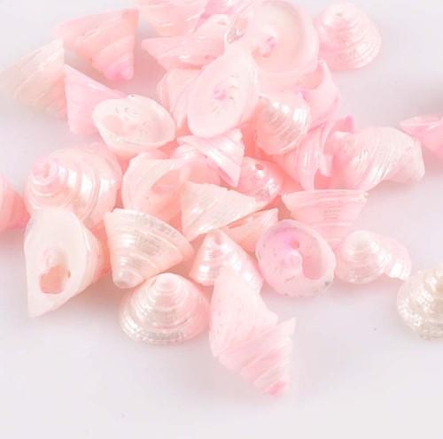 Pink Natural Spiral Conch met klein gaatje voor sieraden +/- 30st 13-15mmschelpjes voor sieraden