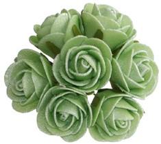 Mini foam roos antique Cool Green 3cm. 84st Parelmoer bloemen