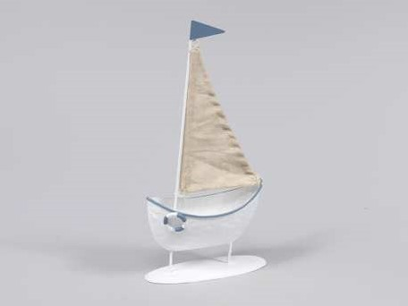 Zeilboot Zeilschip metaal staand 11,5x22. 5 cm. Zeilboot