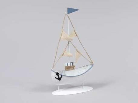 Zeilboot Zeilschip metaal staand 12x23 cm. Zeilboot
