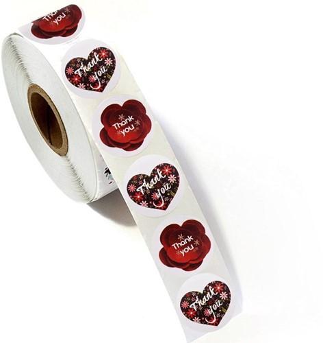 500 Stickers Labels Rol Harten en Rode 3d Bloemen rol sluit etiketten