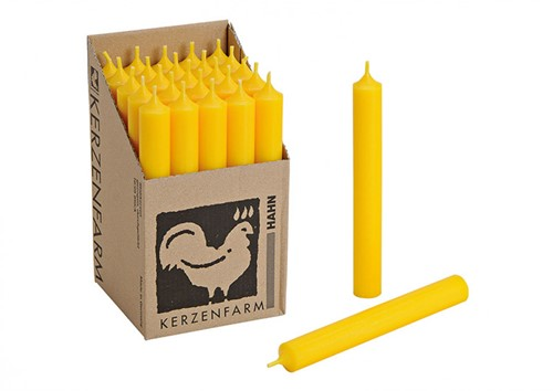 Doorgekleurde Staafkaarsen Geel doos 25st mooie Kaarsen