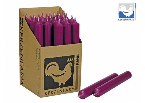 Doorgekleurde Staafkaarsen Cyclaam / Aubergine doos 25st mooie Kaarsen