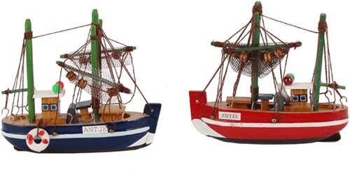 Maritiem Zeilboot 10 cm. Blauw Zeilbootje 11x3x9.5 cm