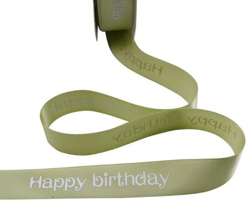 Lint bedrukt Satijnlint HAPPY BIRTHDAY 5m groen Polyester