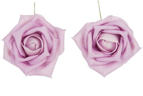 foam rose +/-8cm. 8 pc zak Lichtroze/Pink - Lightpink/Lilac Grote bloem