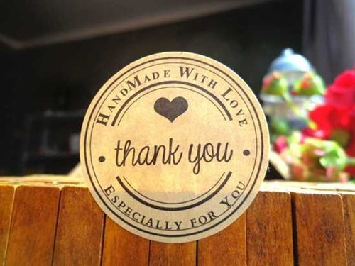 10 Stickers Labels Thank You handmade with love round 10 Stickers Labels Thank