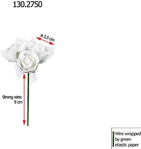 Mini foamrose met tule Wit BULK pak 96 st Minifoamrose met tule Wit