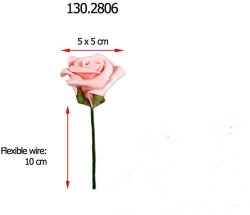 foamroos +/- 5 cm. BULK 250 stuks. Roze foamroos +/-5 cm.