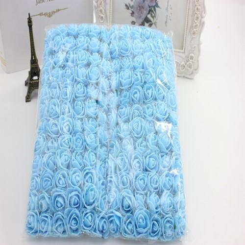 Actie Mini foamrose met tule SKYBLUE Blauw BULK pak 144 st 2 cm.