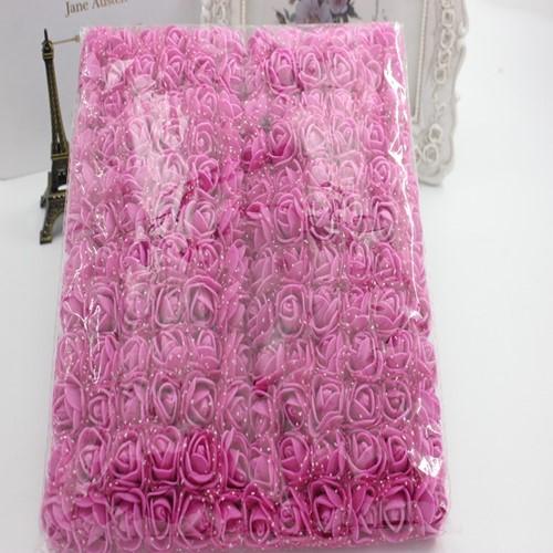 Actie Mini foamrose met tule RoseRed Fuchsia BULK pak 144 st 2 cm.