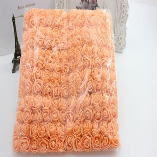 Actie Mini foamrose met tule Oranje BULK pak 144 st 2 cm.
