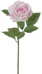 Roos Groot ZIJDE / Tak 60cm. Wit- Lichtroze Grote roos