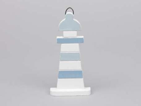 Houten vuurtoren blauw/wit 7. 5x15 cm. Maritiem blauw/wit