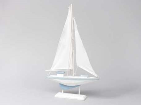 Houten zeilschip zeilboot blauw/wit Groot 34x56 cm. Maritiem blauw/wit