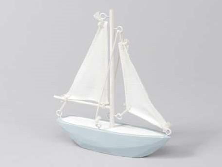 Houten zeilschip blauw/wit 14*15 cm. Maritiem blauw/wit