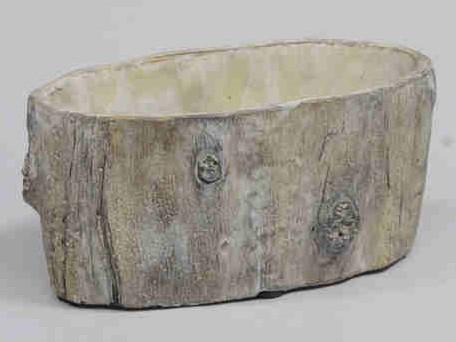 Cement flowerpot BARK schorslook 21x11x10cm. mooie cementpot
