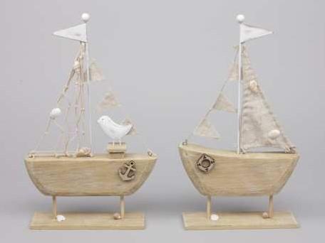 Zeilboot Zeilschip HOUT Staand 16x30. 5cm. SET2 verschillende Zeilboot