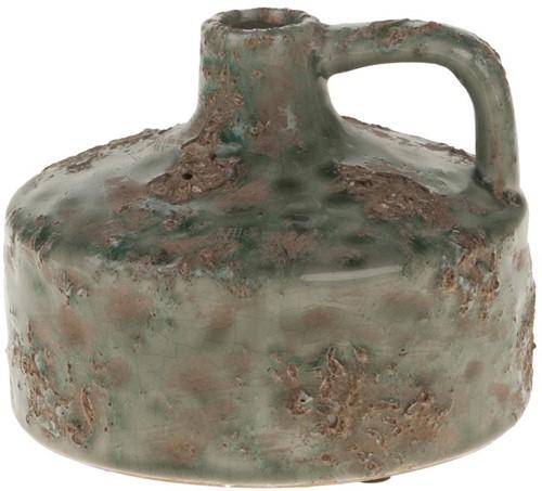 Ceramic kruik vaas Antique Turqoise19x19x14cm. mooie kruik