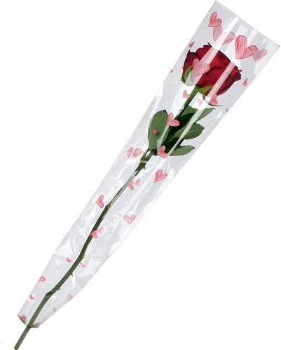 Hoes voor enkele bloem 65X13X03cm. SKETCHED HEART PAK50st Hoes voor enkele bloem