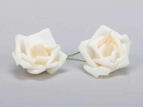 Actie foam rose Zalm 5cm. 12pc zak foamroos 5 cm.