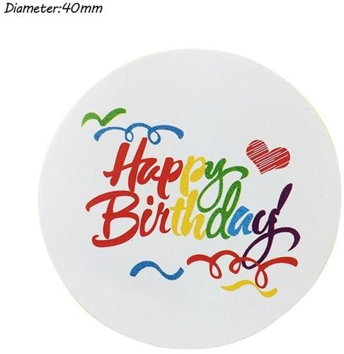 100 Stickers Labels Happy Birthday Kleur opdruk gefeliciteerd sluitsticker