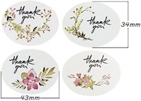 Actie 12 Stickers Labels Thank you Vintage Flowers ovaal Thank you sluitsticker-3
