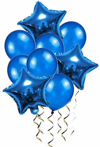 Gemengde Blauwe Folie Ballonnen met Stervorm en Rond 9st Ballon Verjaardagsfeestje Decoratie Babyshower
