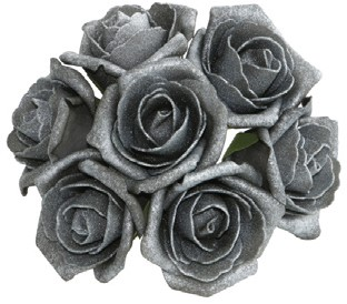 foam roos Emilia antique Antracite / dark Grey doos 42 Parelmoer bloemen
