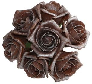 foam roos Emilia antique Chocolate brownbundel 7st Parelmoer bloemen