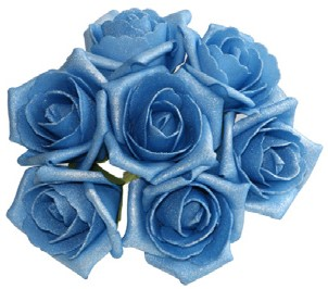 foam roos Emilia antique blauw/ice bundel 7 Parelmoer bloemen