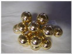 Balletjes op draad goud glans +/- 12st Kerstballen 2 cm.